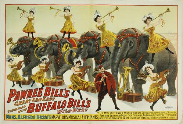 "Buffalo Bill / Pawnee Bill Wild West Show poster, 30"" by 40"" mounted on linen."