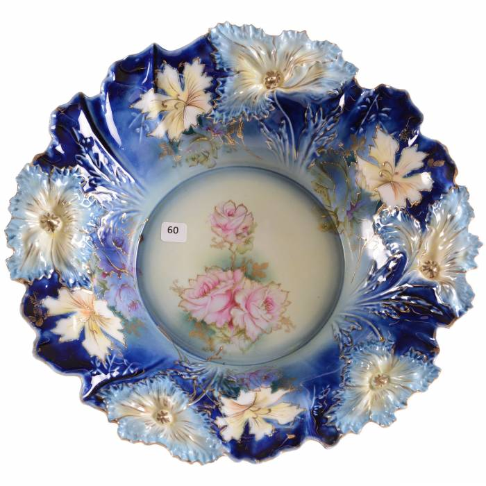 R.S. Prussia cobalt blue bowl, 15 inches diameter, with gold stencil highlights.