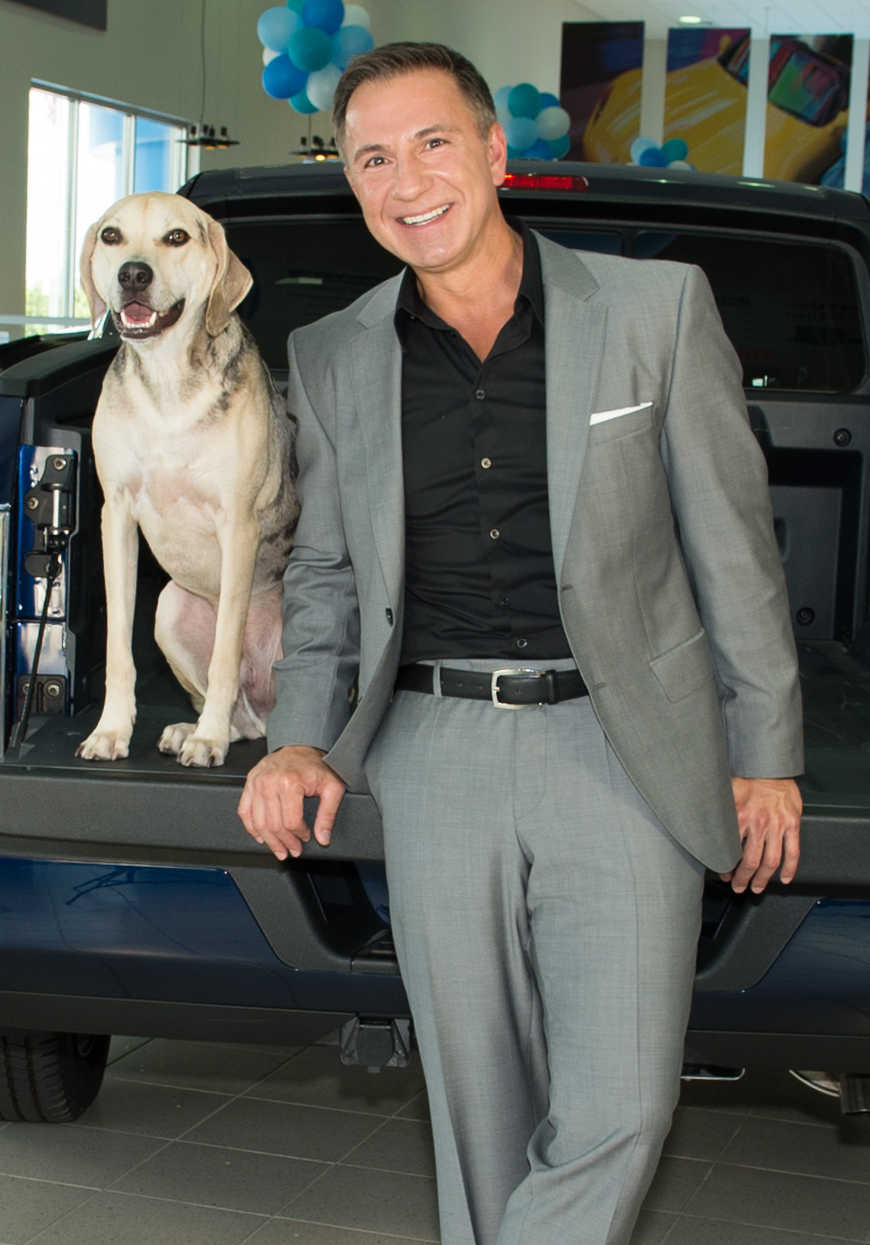 John Marazzi with Dealership Mascot Zeus