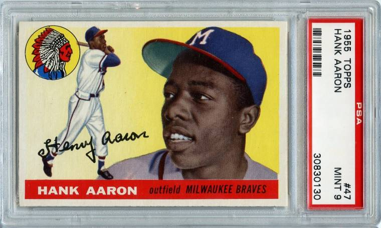 1955 Topps #47 Hank Aaron card, graded PSA 9, the finest example in existence.