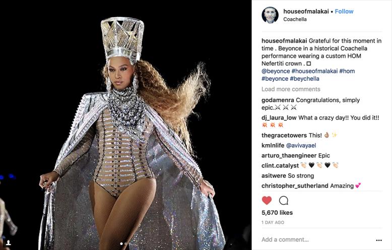 Beyonce wearing Malakai's Headpiece Design at Coac