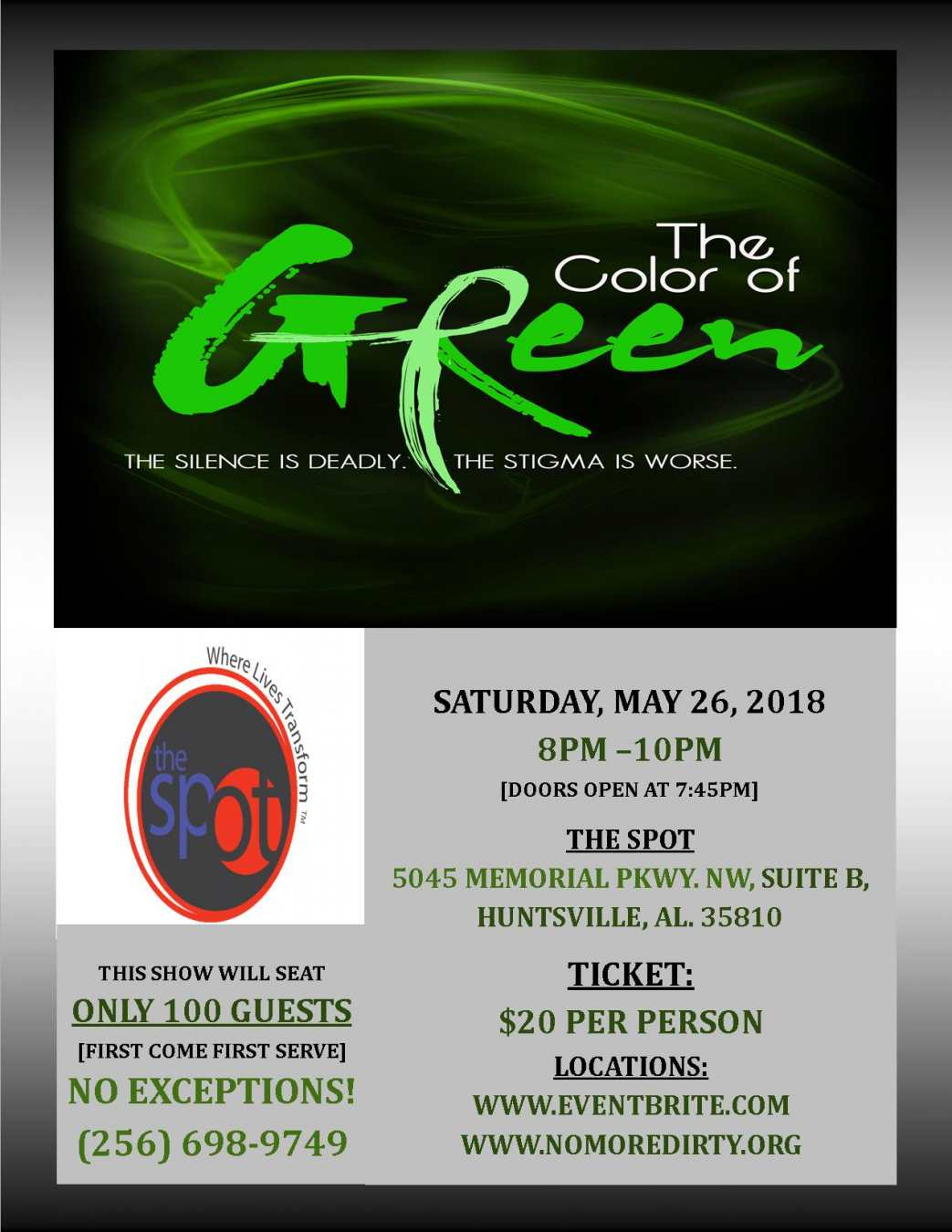 2018 THE COLOR OF GREEN FLYER - THE SPOT