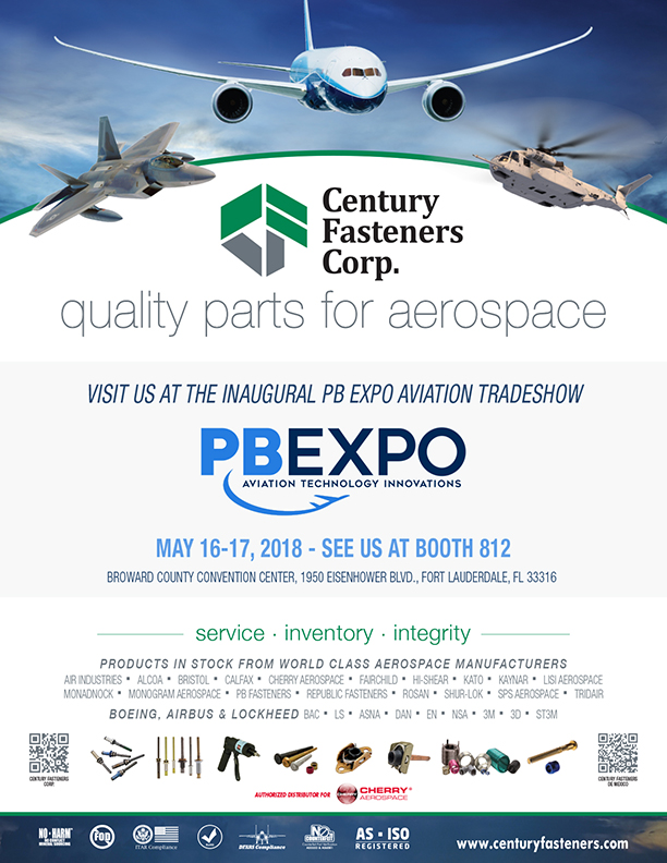 Century Fasteners Corp. to Attend Inaugural PB Expo Aviation Tradeshow