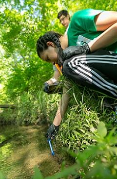 A Volunteer Tests Water Quality During Great Gwinnett Wetlands 2018