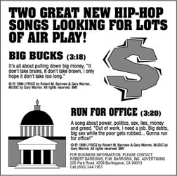 "Listen to a FREE CLIP of ""Big Bucks"" at www.barrows.com/music.html"