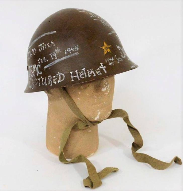 World War II Japanese Marines Type 90 combat helmet, kept as a trophy ($1,750).