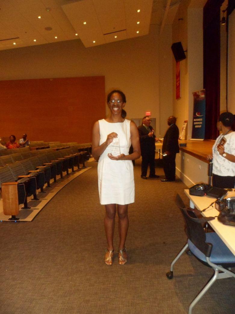 Carla R Jenkins Receiving the Hard Work and Dedication Award