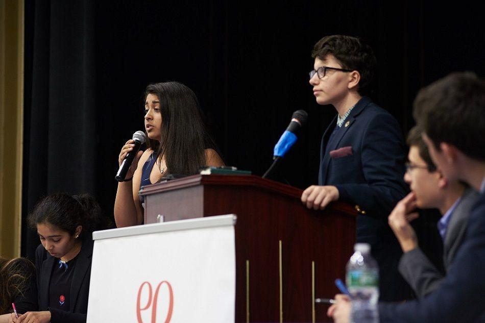 Rachel Carson Middle School debate against The Dalton School during final round.