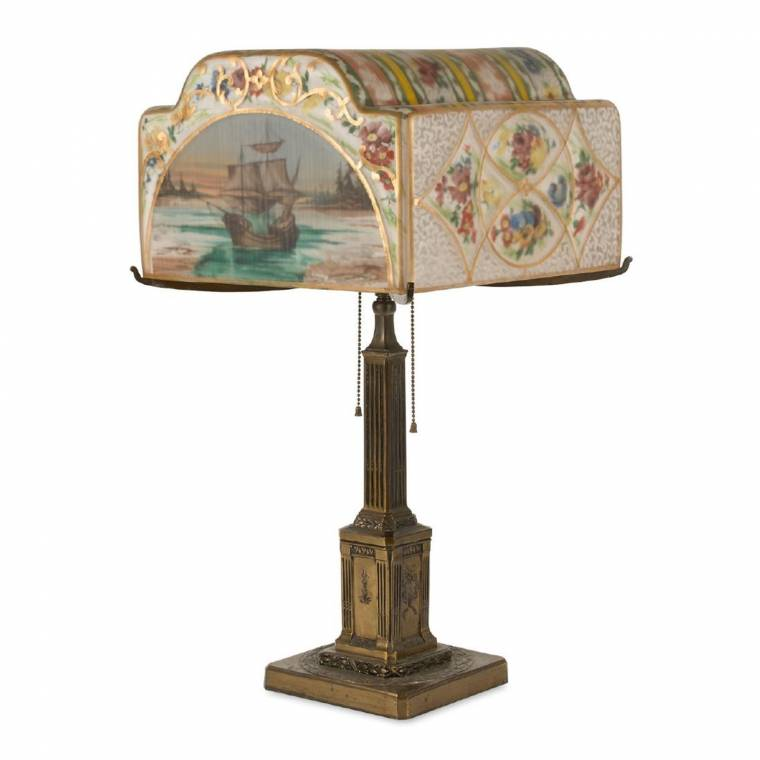 """Outstanding circa 1920 Pairpoint """"Landing of the Pilgrims"""" lamp, 24 inches tall."""