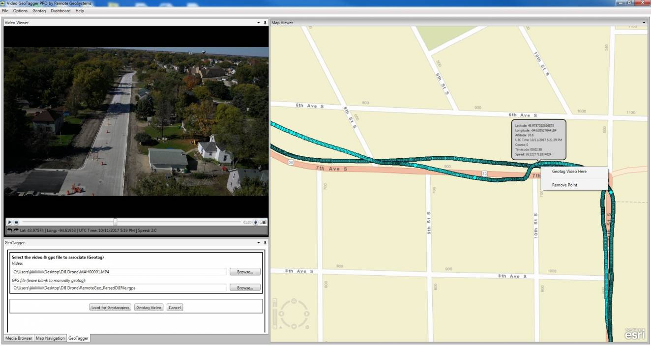 Video Geotagger makes it easy to associate GPS data with your drone videos