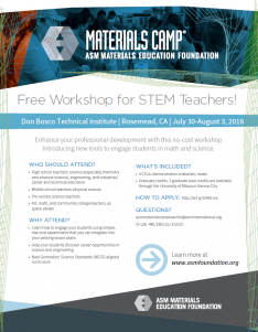 ASM teacher workshop is July 30-Aug. 3