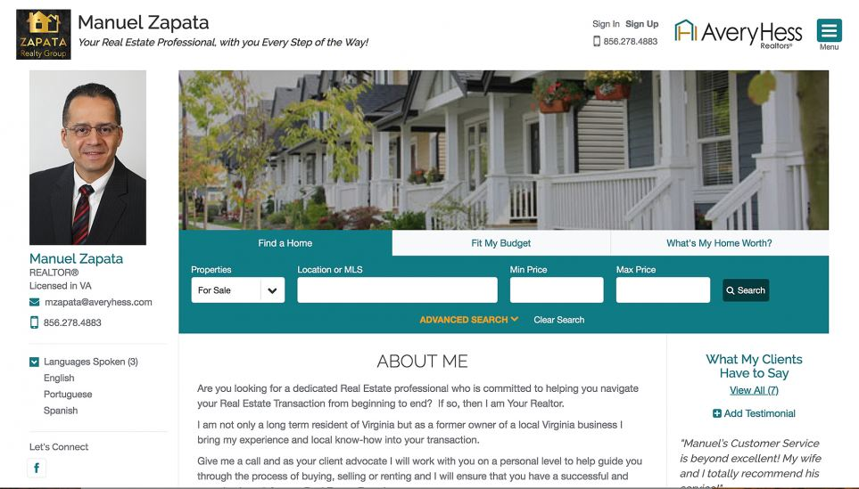 Example of an AveryHess agent website
