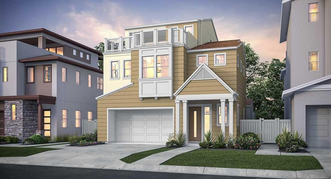 New models showcasing two and three-story home designs at Cadence Park in Irvine
