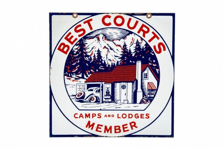 """Very rare double-sided porcelain sign for Best Courts """"Member"""" Camps and Lodges."""