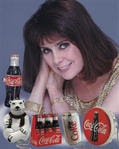 Kathrine Baumann with Coca-Cola Handbags