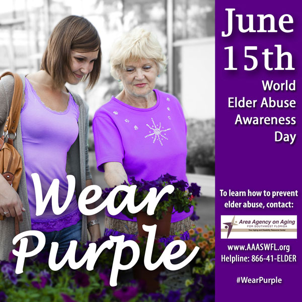 Wear Purple on June 15 to raise awareness of Elder Abuse