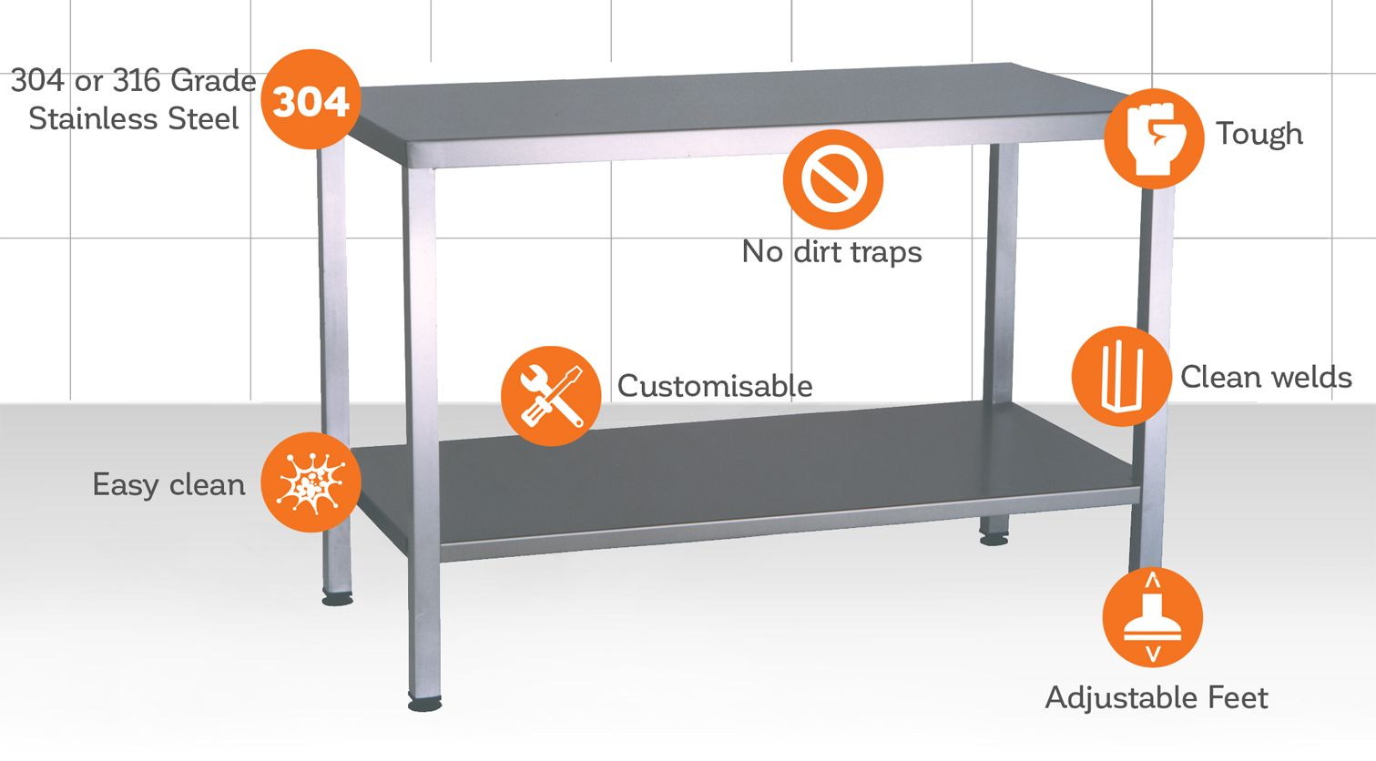 Tough, easy clean tables in all shapes & sizes