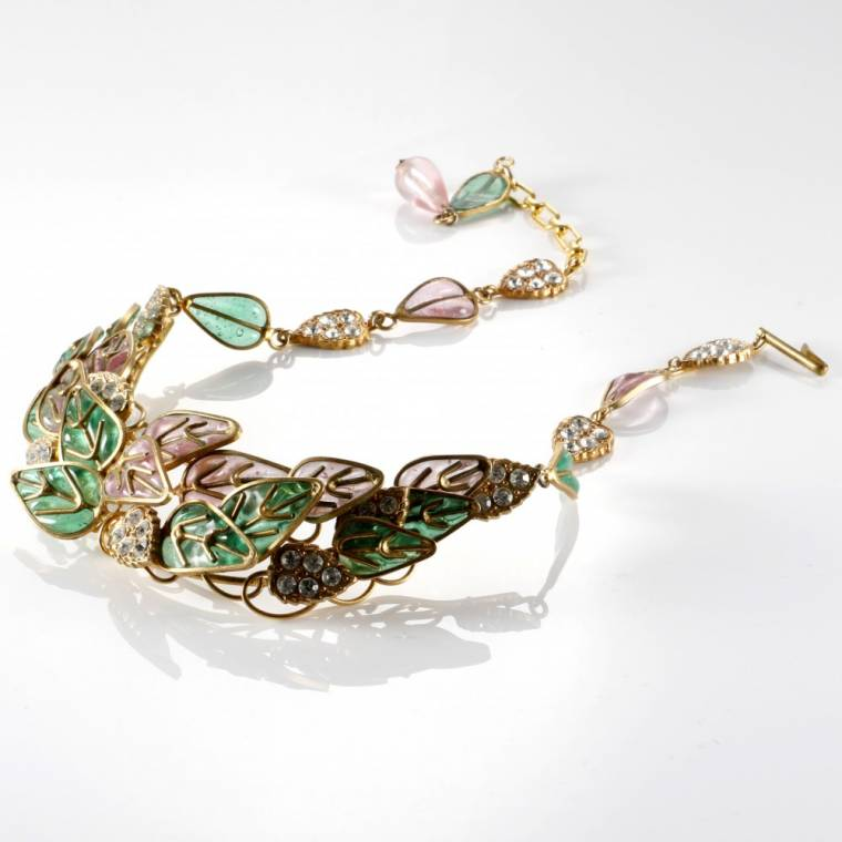 Dazzling Chanel Gripoix green and pink poured glass plique a jour necklace.