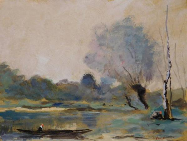 Tempera and watercolor landscape attributed to Jean Baptiste Camille Corot.