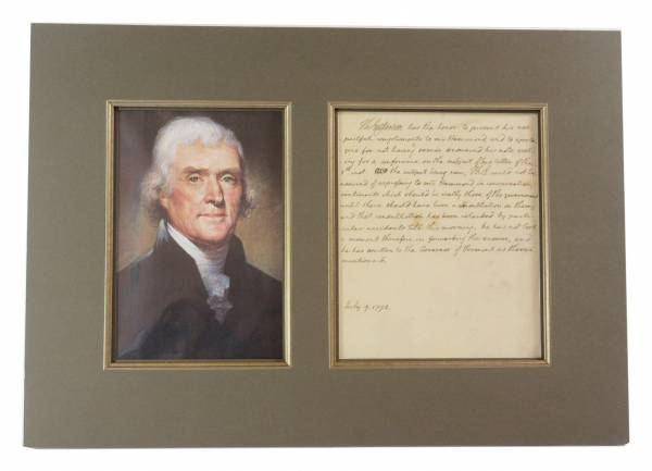 Letter written and twice signed by Thomas Jefferson, dated July 9, 1792.