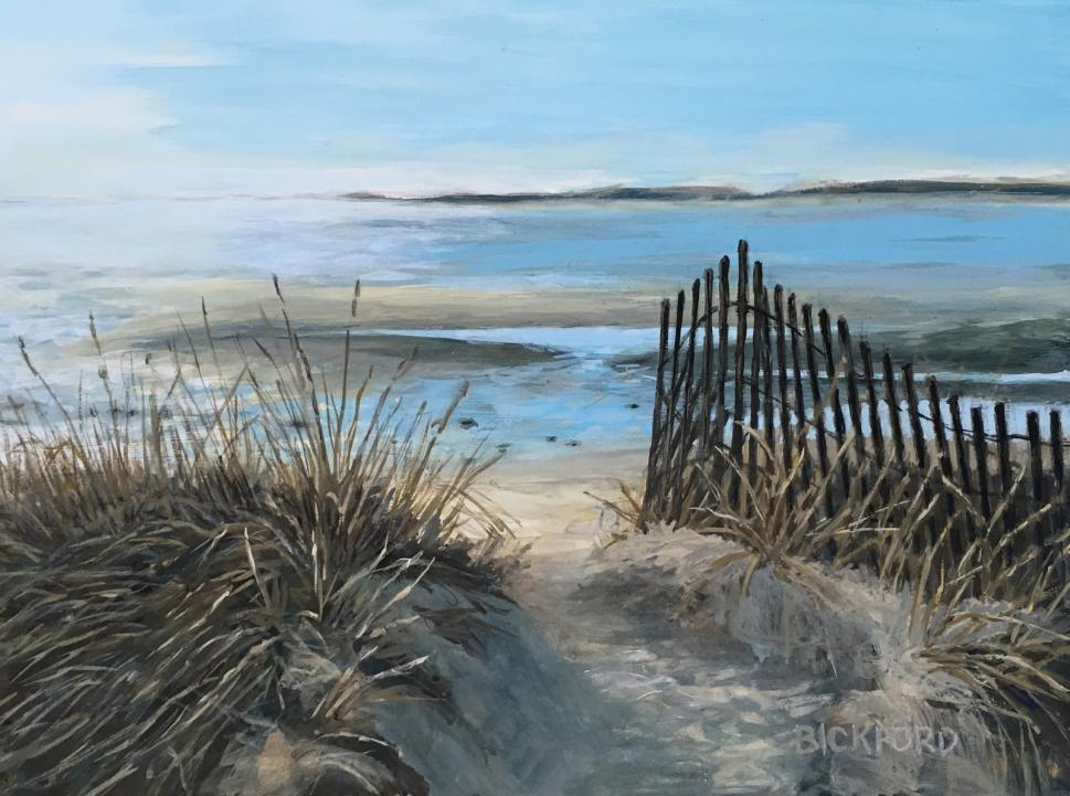 "Amy Bickford ~ 'Path to Ferry Beach' ~ Gouache on Gesso Board 9"" x 12"""