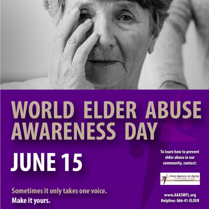 AAASWFL asks you to Wear Purple for Elder Abuse Awareness Day on June 15