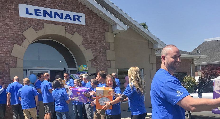 Lennar associates delivering the 12,063 diapers raised to the Utah Diaper Bank.