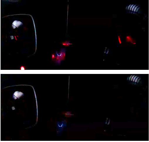 Photo above shows laser in action. Below, anomalous hit from nowhere.