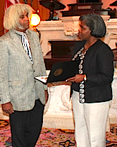 Marshall Barnes receiving recognition for proving Stephen Hawking wrong, 2012