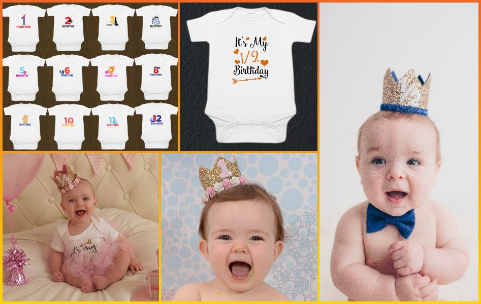 Baby Milestone Rompers and Birthday Crowns