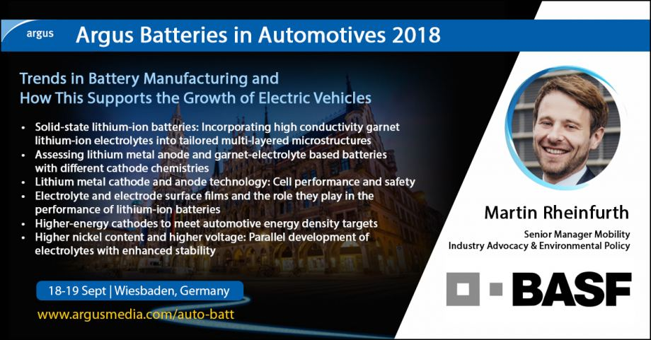 BASF Present at Argus Batteries in Automotives 2018
