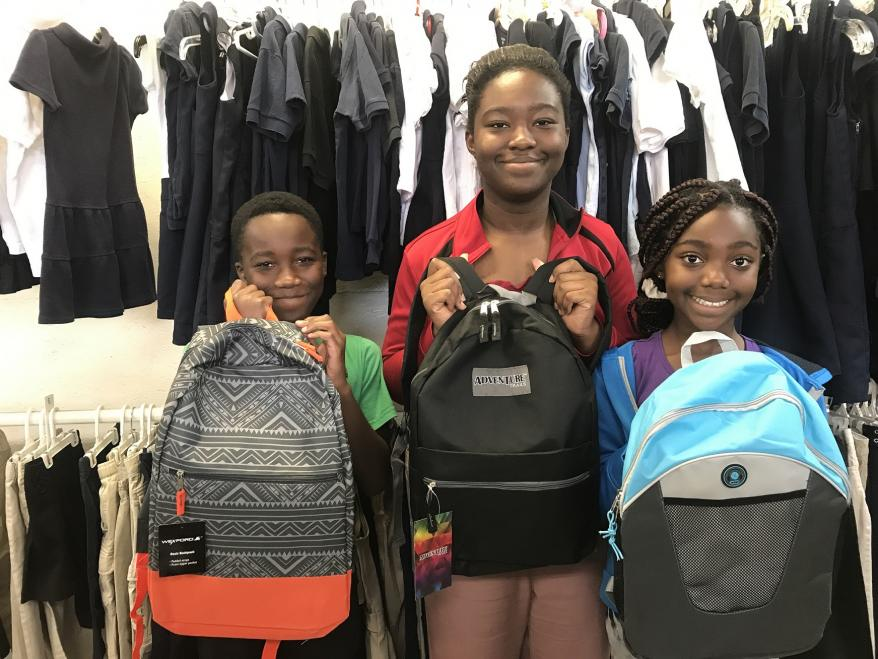 The Addo children of Waterbury all selected book bags during the 2017 drive