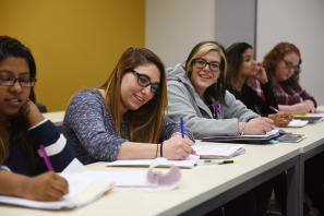 Social Work students learning on Adelphi's campus