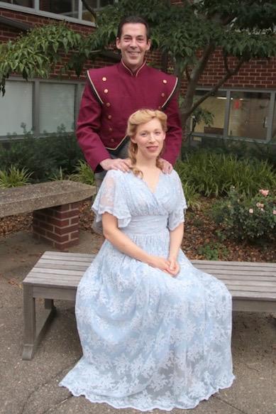 Harold Hill (Robert Miller) and Marian Paroo (Rachel Burghen)