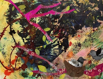 Birds in the Pink Boughs by Grace Modla