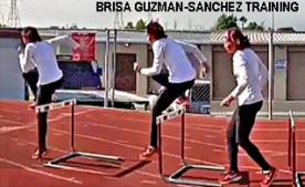 Brisa Guzman-Sanchez during hurdle training 2018