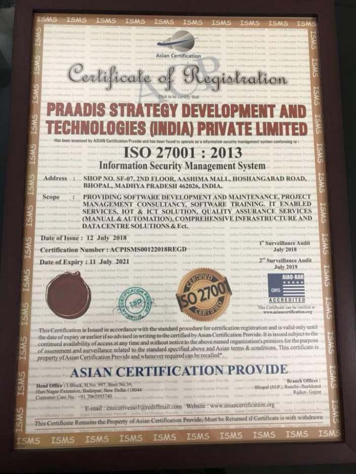 Praadis Consulting Inc Achieves Iso 270012013 Certification