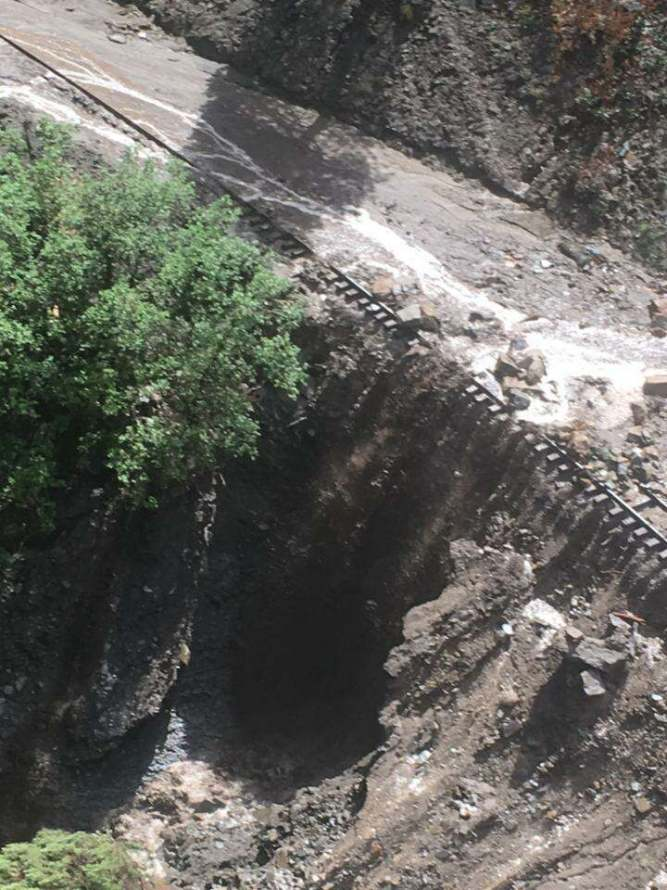 This section of D&SNGRR track was hit by runoff from Tuesday's thunderstorm.