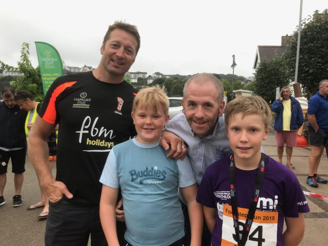 Wales Rugby star Ian Gough giving out medals at the weekend's charity events