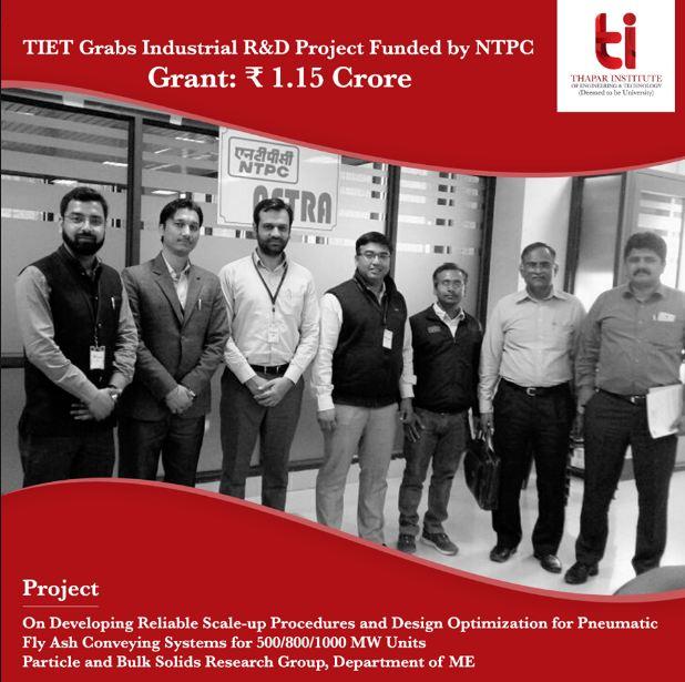 TIET winning an industrial research and developmen