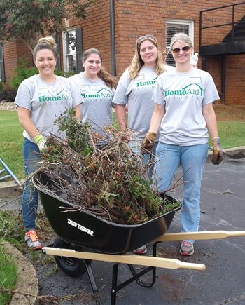 Volunteers at Anna Crawford Children's Center on July 24.