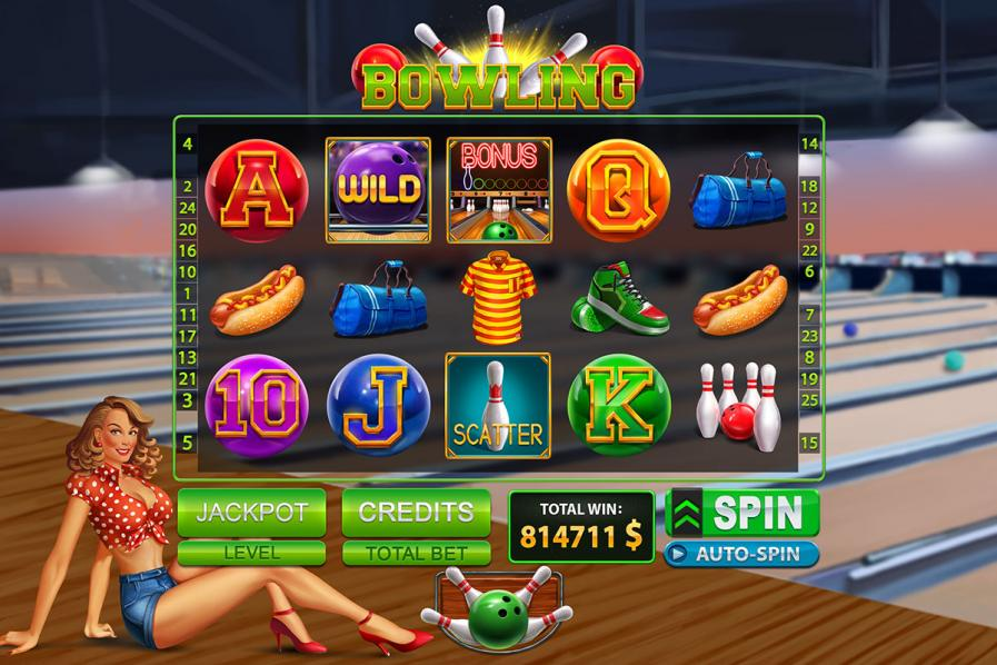"Graphic design for the online slot game ""Bowling"""
