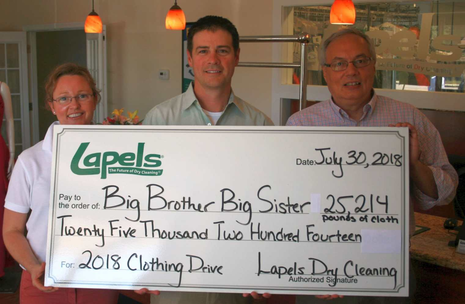 Lapels Dry Cleaning's drive to benefit Big Brother Big Sister