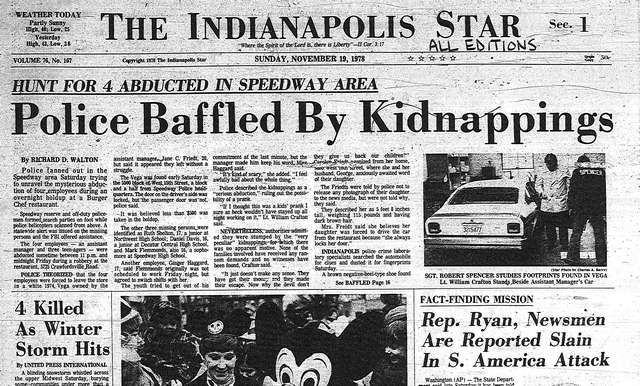 Cover Of The IndyStar Paper Reporting The Burger Chef Murders