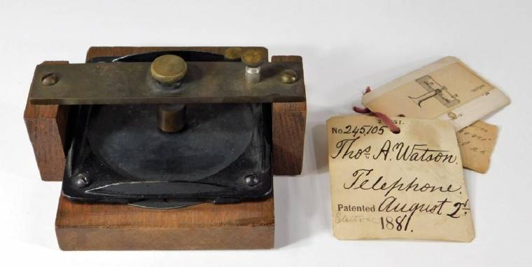 Bell and Watson prototype telephone, with original patent paperwork from 1881.
