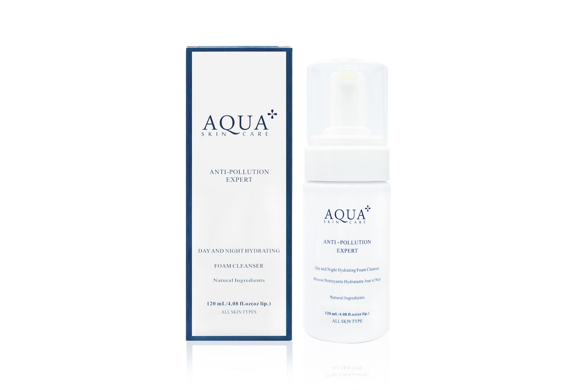 Aqua+ Skincare Day and Night Hydrating Foam Cleanser