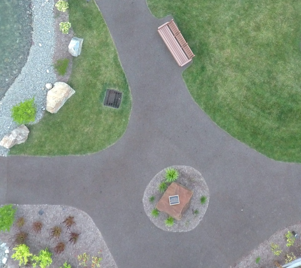 Overview of the Porous Pave paths that unite the courtyard garden