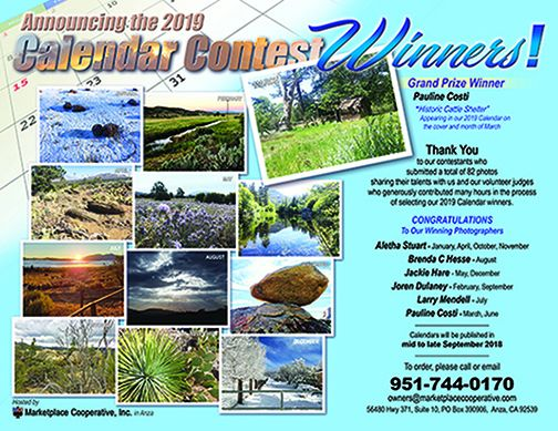 MCI Landscapes of the High Country 2019 Calendar Contest Winners