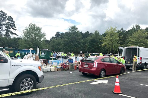 Cars Line Up for the First Ever HHW Disposal Event in Georgia's Gwinnett County