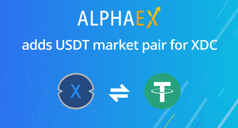 XDC and USDT paired on Alphaex